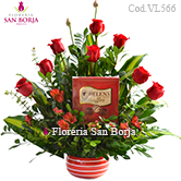 flower arrangements with roses to Lima, buy online beautiful roses to Lima, roses to Peru