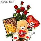 flowers to Peru, 6 roses, chocolate bombons and balloon, send flowers to Lima Peru, excellent combination of roses and gifts to Lima