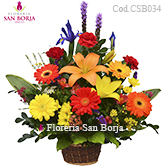 flowers to Lima, multicolor flowers in a basket, send lovely flowers to Lima Peru